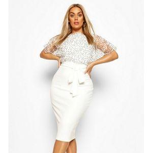 Heart Organza Blouson Midi Dress